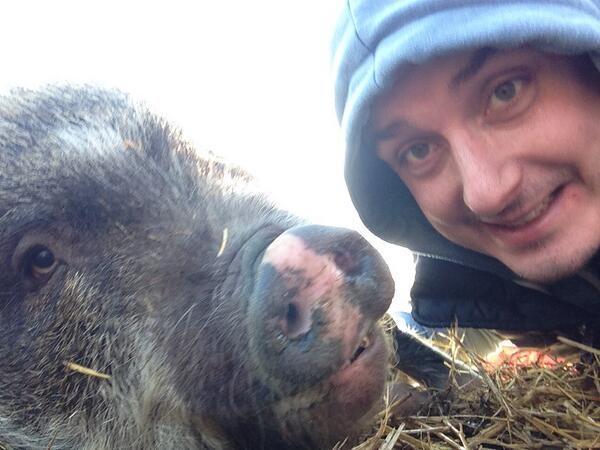Ash fro Farmers Review and his pigs!